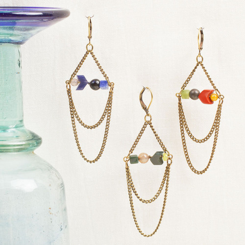 Geo Stone & Chain Loop Earring