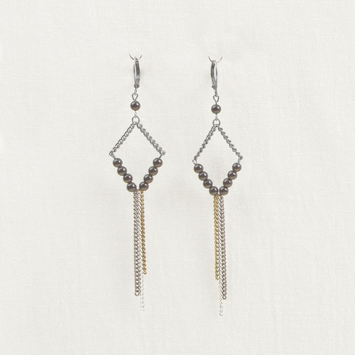 Silver, Stone & Chain Diamond Earrings