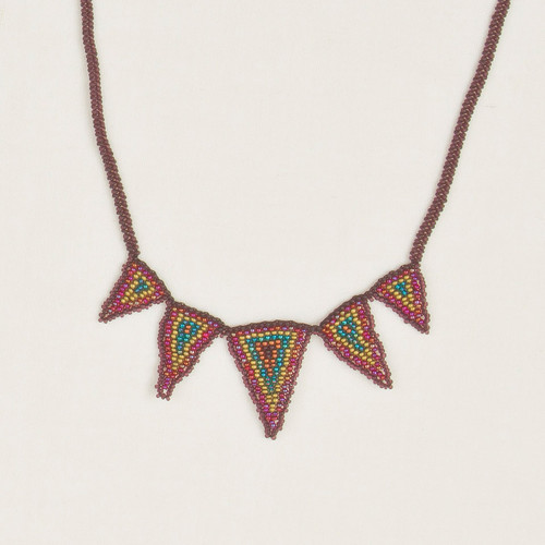 Beaded Triangle Spike Necklace