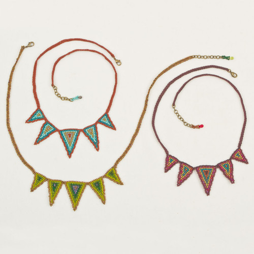 Beaded Triangle Spike Necklace