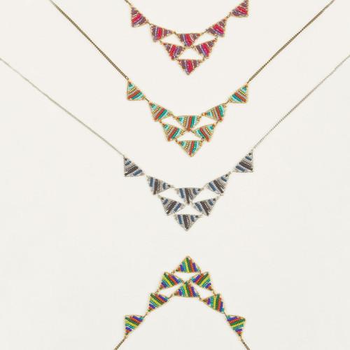 Bead & Wire Multi Triangle Necklace