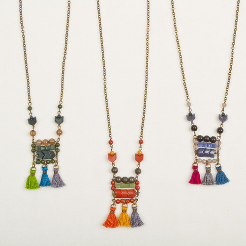 Geo Stone & Tassel Necklace