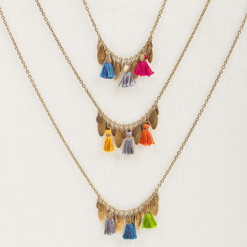 Tassel & Metal Fringe Necklace