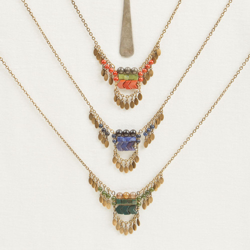 Geo Stone & Fringe Necklace