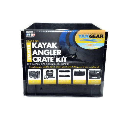 The YakGear Black Milk Crate comes with the YakGear logo in standard 13″ x 13″ milk crate size, fitting most kayak tank wells or decks.
