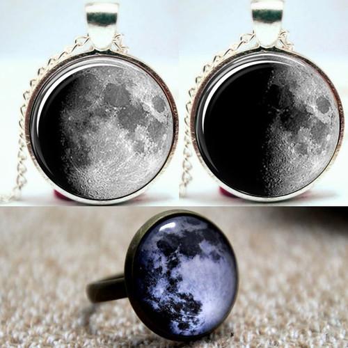 Moon Pendants and Ring Set