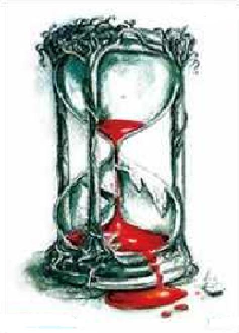 Bloody Hourglass Temporary Tattoo