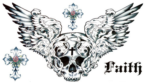 Angel Wings Skull Temporary Tattoo