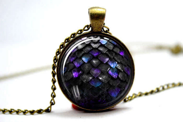 Purple and Black Dragon Scale Pendant