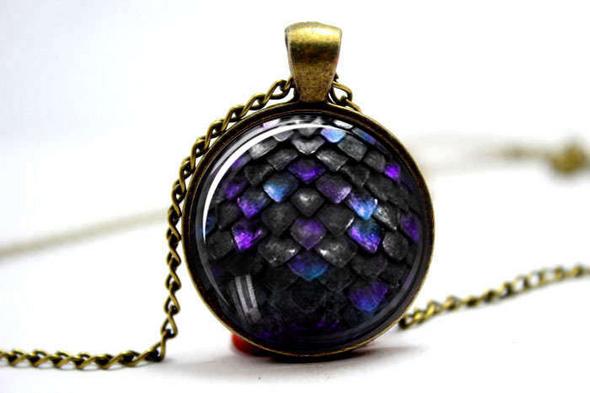 Purple and Black Dragon Scale Pendant