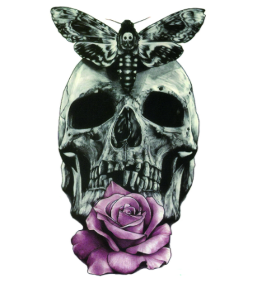 Changeling Moth Skull Temporary Tattoo