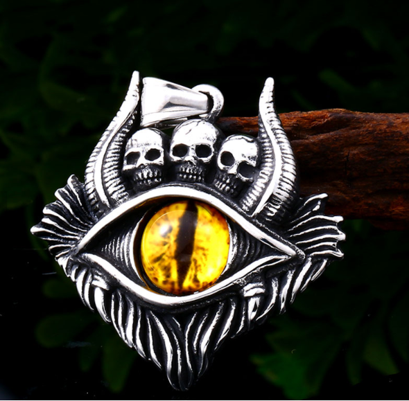 Three Skulled Evil Eye Pendant