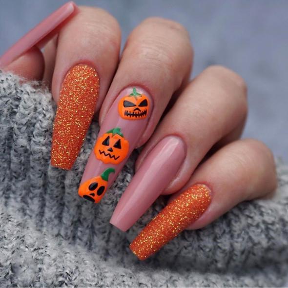 Pumpkin Halloween Fake Nails