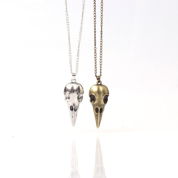 Crow Skull Pendant- Bronze