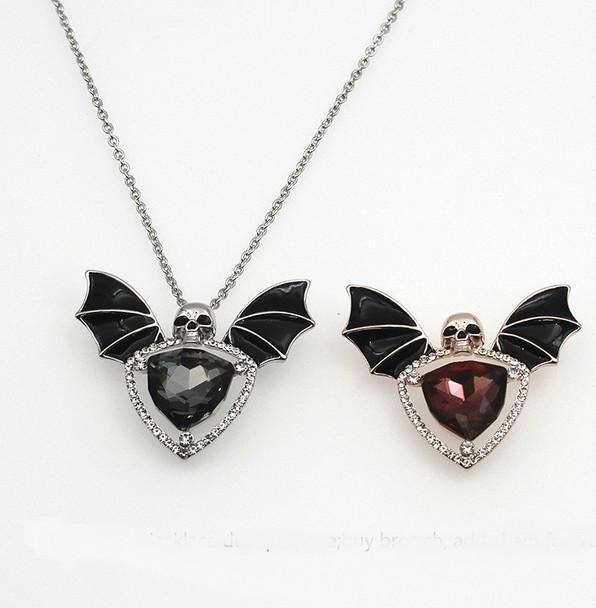Bejeweled Bat Skull Pendant/ Pin
