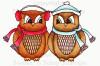 Winter Love Owls Colored Digital Stamp