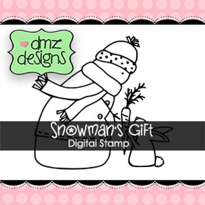 Snowman's Gift Digital Stamp