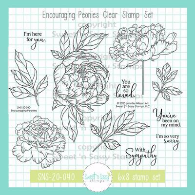Encouraging Peonies Clear Stamp Set