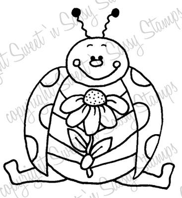 A Flower for You Ladybug Digital Stamp
