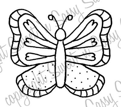 Whimsical Butterfly Digital Stamp
