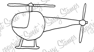 Toy Helicopter Digital Stamp