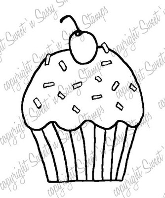 Cherry-topped Cupcake Digital Stamp