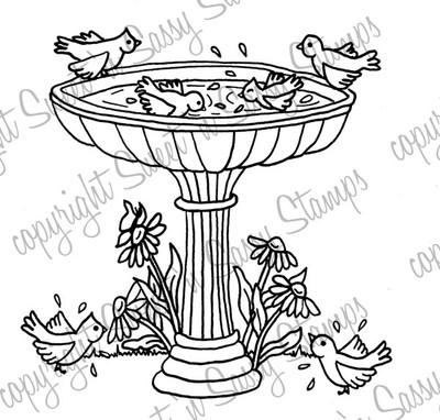 Birdie Bathtime Digital Stamp