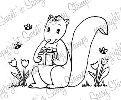 Squirrel's Gift Digital Stamp