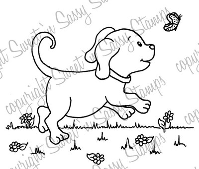 Playful Pup Digital Stamp