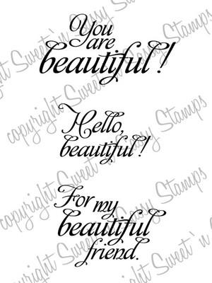 Hello Beautiful Digital Stamp