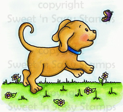 Playful Pup Colored Digital Stamp