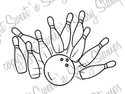 Bowling Strike Digital Stamp