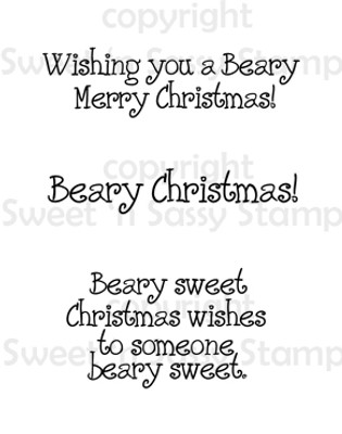 Beary Christmas Sentiments Digital Stamp