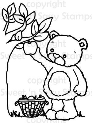 Rhubarb Picking Apples Digital Stamp