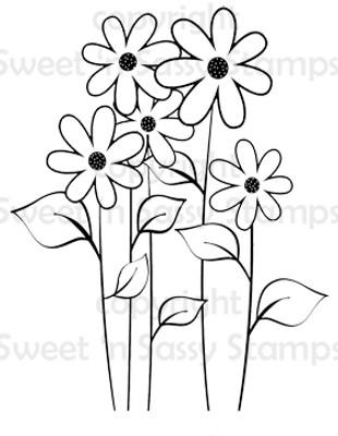 Happy Flowers Digital Stamp