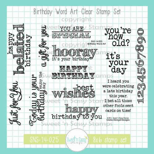 Birthday Word Art Clear Stamp Set