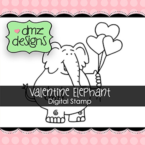 Valentine Elephant Digital Stamp