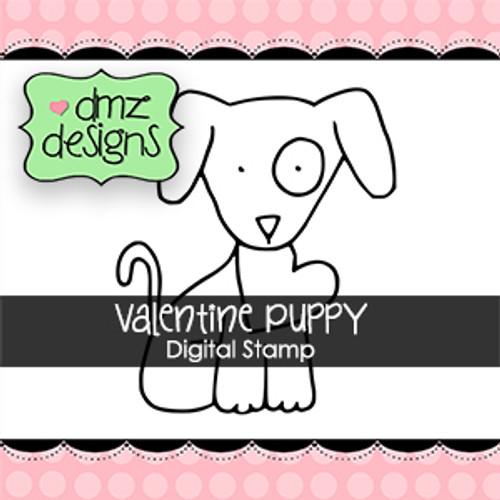 Valentine Puppy with Sentiment Digital Stamp