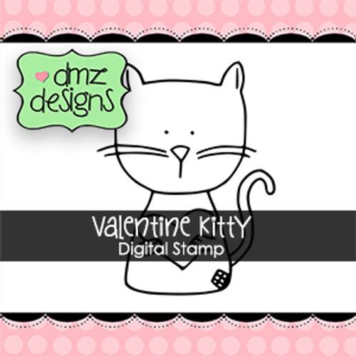 Valentine Kitty with Sentiment Digital Stamp