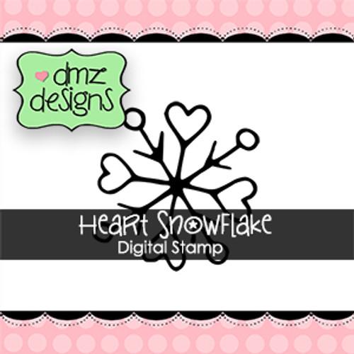 Heart Snowflake Digital Stamp