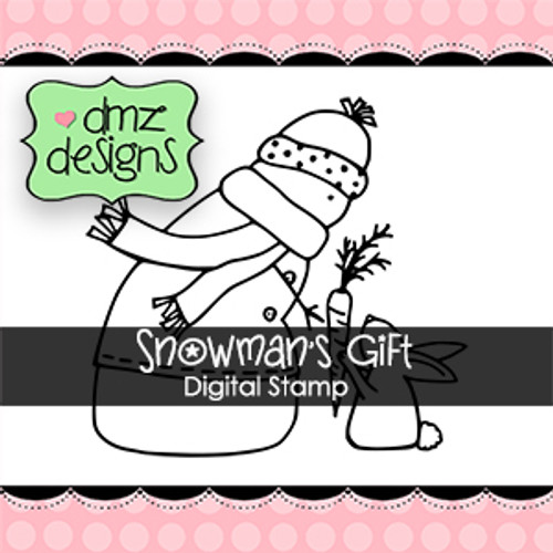 Snowman's Gift Digital Stamp