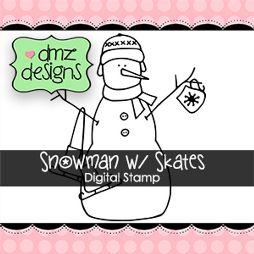 Snowman With Skates Digital Stamp