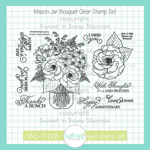 Mason Jar Bouquet Clear Stamp Set
