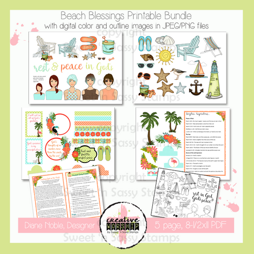 Creative Worship: Beach Blessings Printable Bundle with Devotional