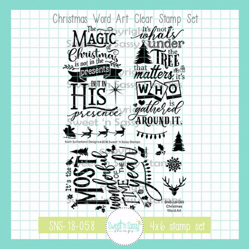 Christmas Word Art Clear Stamp Set