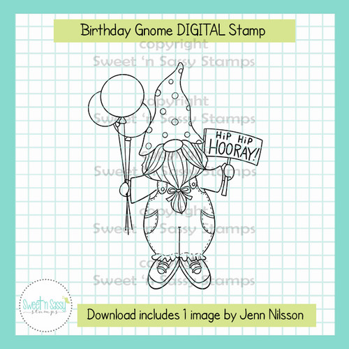 Birthday Gnome DIGITAL Stamp