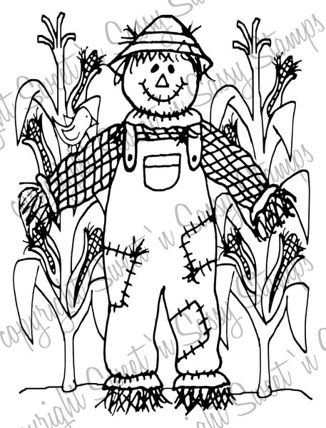 Happy Scarecrow Digi Stamp