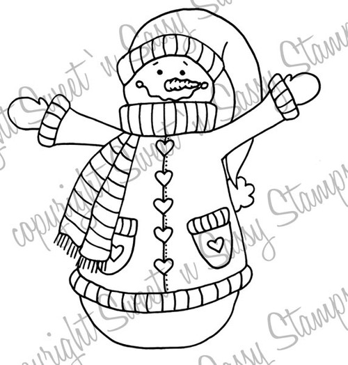Country Snowman Digital Stamp