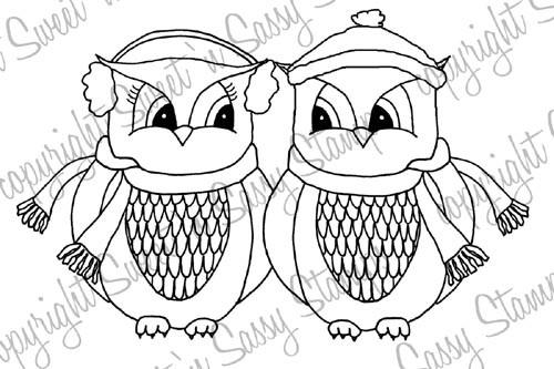 Winter Love Owls Digital Stamp
