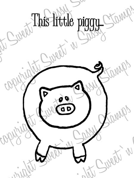 Little Piggy Digital Stamp